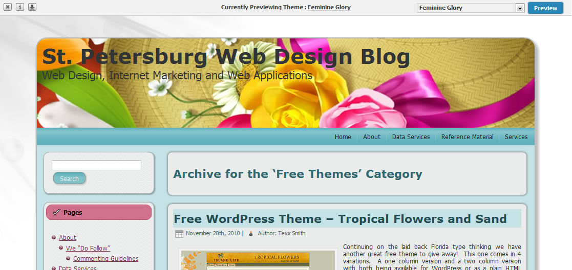 Free WordPress Template – Feminine Glory