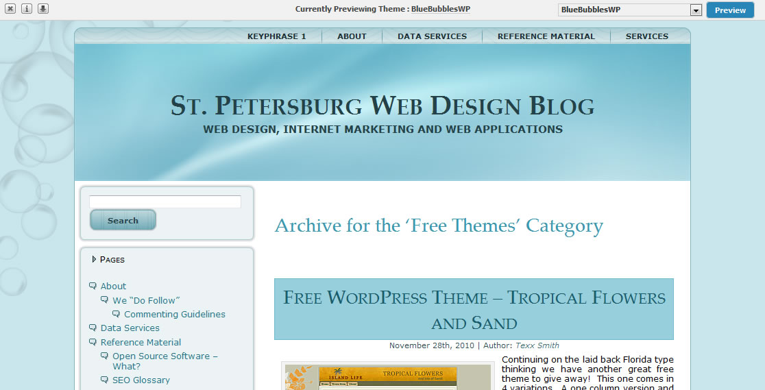 Free WordPress Theme – Blue Bubbles