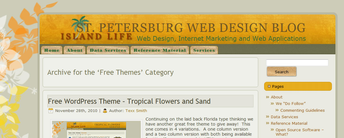 Free WordPress Theme – Tropical Flowers and Sand