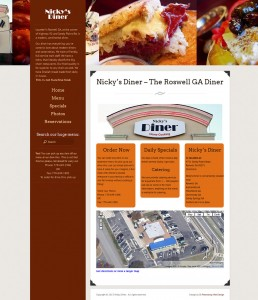 A preview image of the new version of the Nicky's Diner website